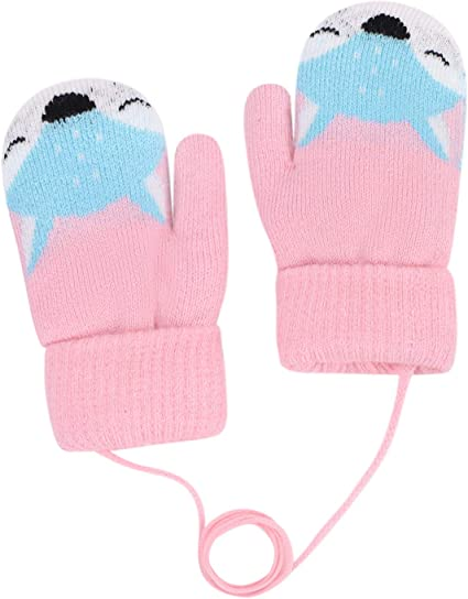 Kids Toddlers Cartoon knitted Gloves Cute Bear Hang Neck Mittens Thicken Winter Warm Gloves with Plush Lined Full Fingers Thermal Plush Outdoor Hand Warmer Aged 1-4 Years Xmas Gift