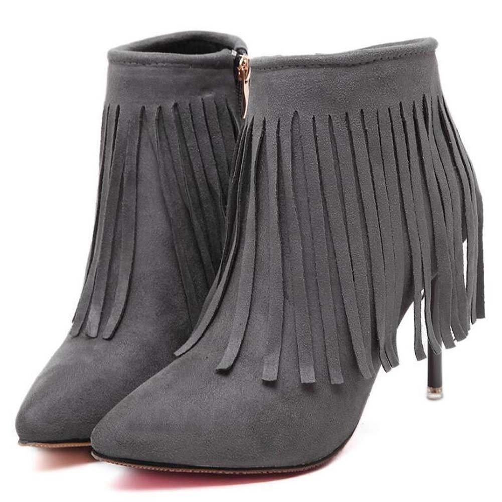 Frauen Quaste Stiefel Stiefeletten 9 5 5 5 cm Scarpin Spitz Seude Reißverschluss Kleid Hochzeit Stiefel Court Schuhe Eu Größe 34-40 66fc31