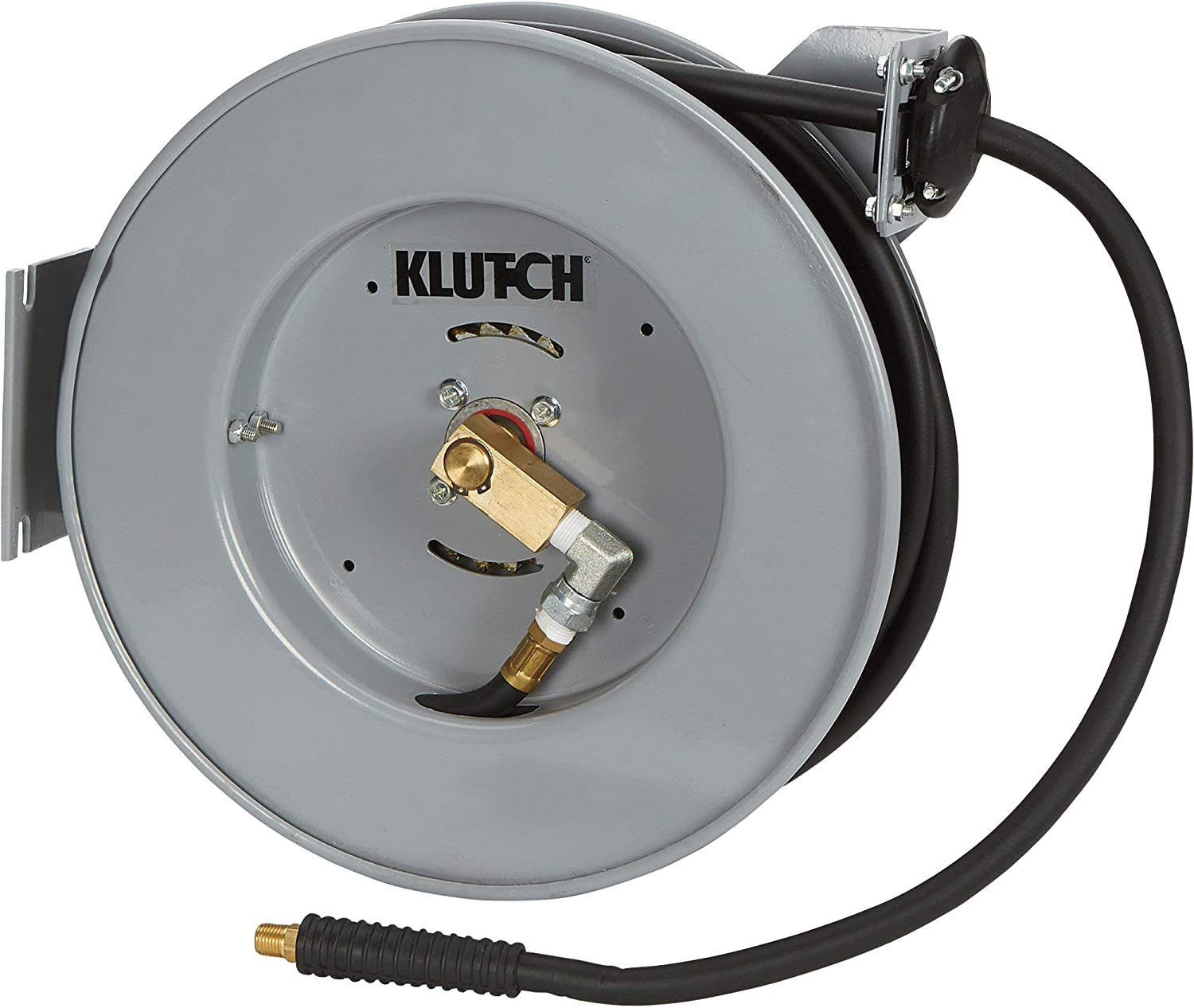 Max Klutch Compact Auto Rewind Air Hose Reel x 50ft 300 PSI Hybrid Hose with 3//8in