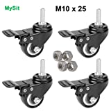 """MySit 2"""" Casters with Brake Lock (Stem Bolt M10x25) , Heavy Duty Swivel Stem Brake Caster Wheels with Nuts for Shopping Carts Trolley - Pack of 4"""