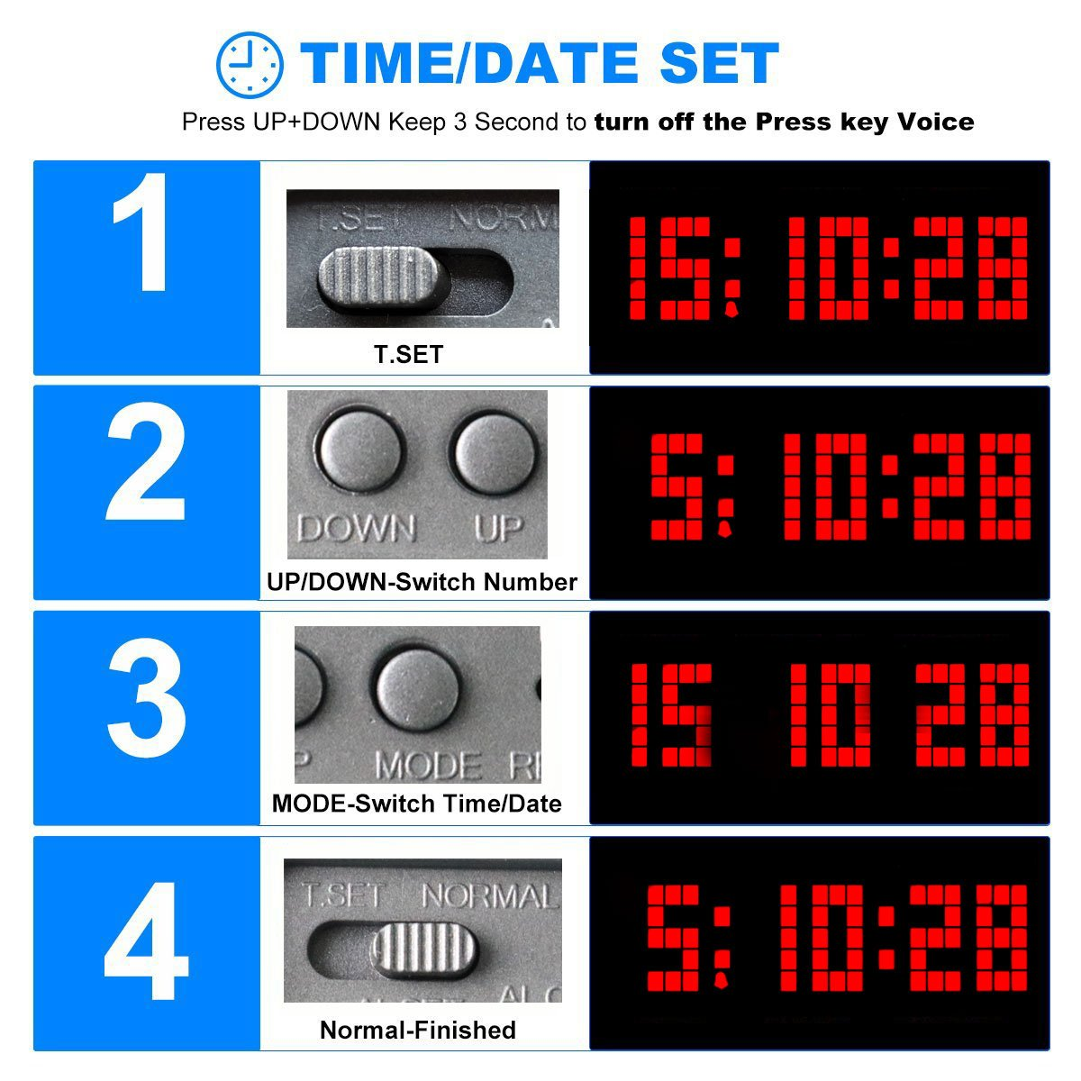 Chkosda Digital Led Clock Wall Alarm Calendar 7 Segment Count Down Timerred Office Products