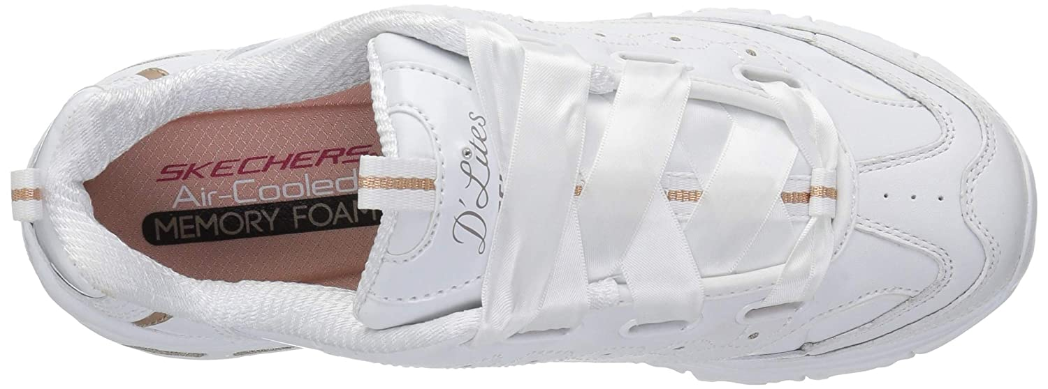 Amazon.com | Skechers Womens DLites-Latest Trend Sneaker White/Gold 11 M US | Fashion Sneakers