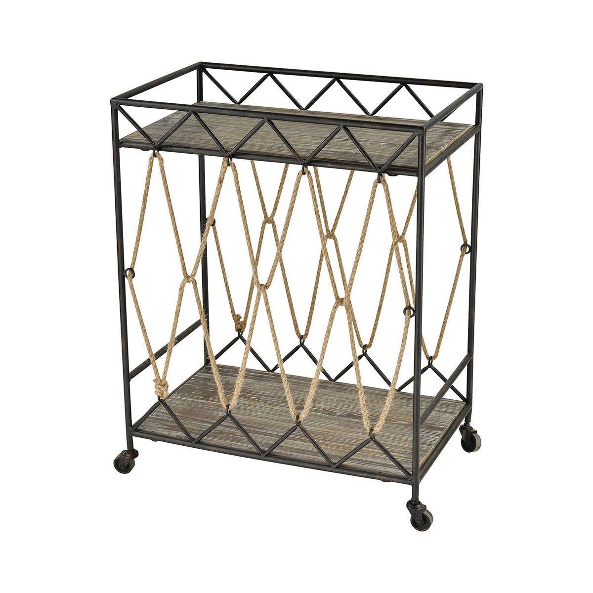 Contemporary Home Living 30.25'' Brown Rectangular Geometric Roadshow Cart by Contemporary Home Living