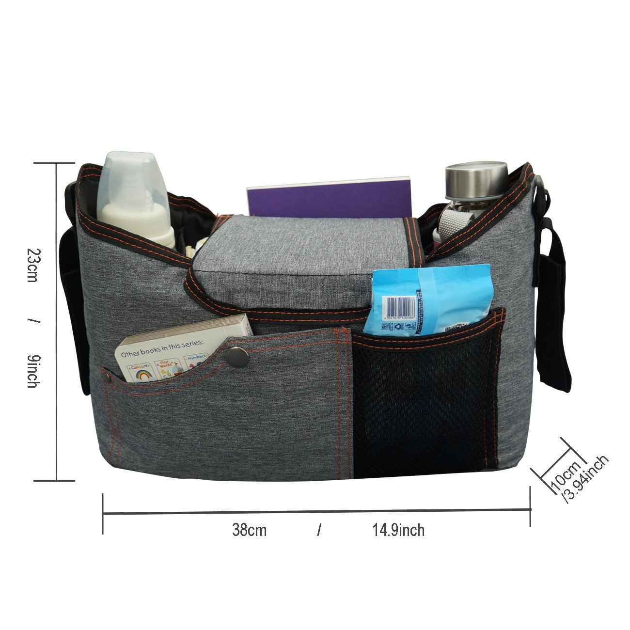 BlueSnail Stroller Bag Fits Stroller Organizer - Extra-Large Storage Space for iPhones, Wallets, Diapers, Books, Toys, iPads (Grey) by BlueSnail (Image #4)