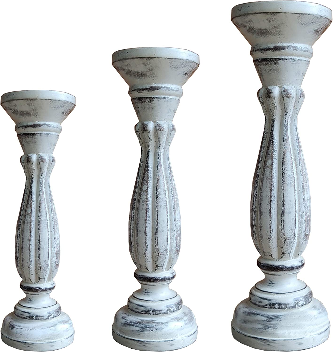 Benjara Brown Set of 3 Natural Handmade Wooden Candle Holder with Flared Top