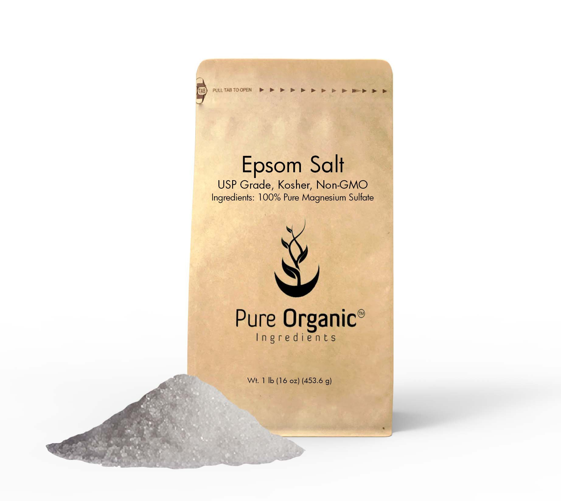 Pure Epsom Salt (Magnesium Sulfate), 1 lb (16 oz), Soaking Solution, All-Natural, Highest Quality & Purity, USP Grade, Eco-Friendly Packaging (Also available in 4 oz & 5 lb)