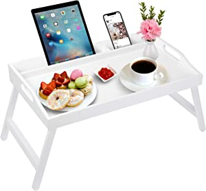 Artmeer Bed Tray Table with Handles Folding Legs Bamboo Breakfast Tray with Phone Tablet Holder,Foldable Food Serving Trays for Eating on Bed Lap Desk
