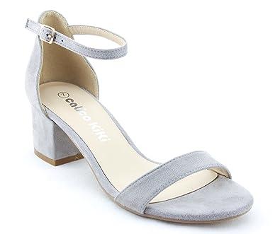 0b6d3a3f4ec CALICO KIKI ELISHA-CK01 Women s Buckle Ankle Strap Low Block Heel Open Toe Heeled  Sandals