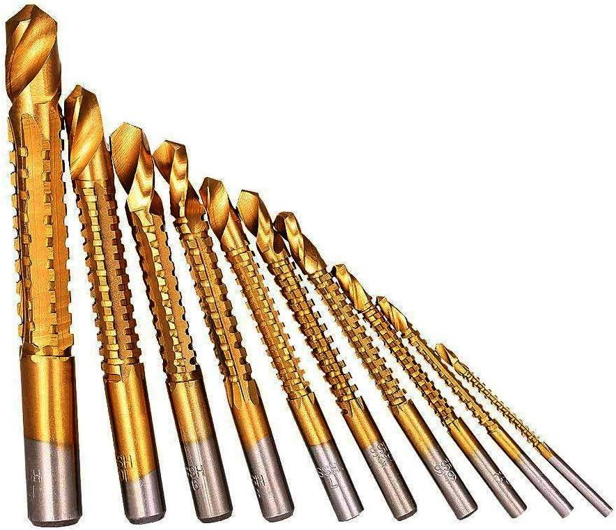 3mm 4mm 5mm 6mm 6.5mm 7mm 8mm 9mm 10mm 13mm CUKCIC Foret Scie Bit Set HSS Foret et Rainurage Tirez Rainure Cannel/és Foret en Dent de Scie pour Bois Plastique Mou-M/étal 10pcs