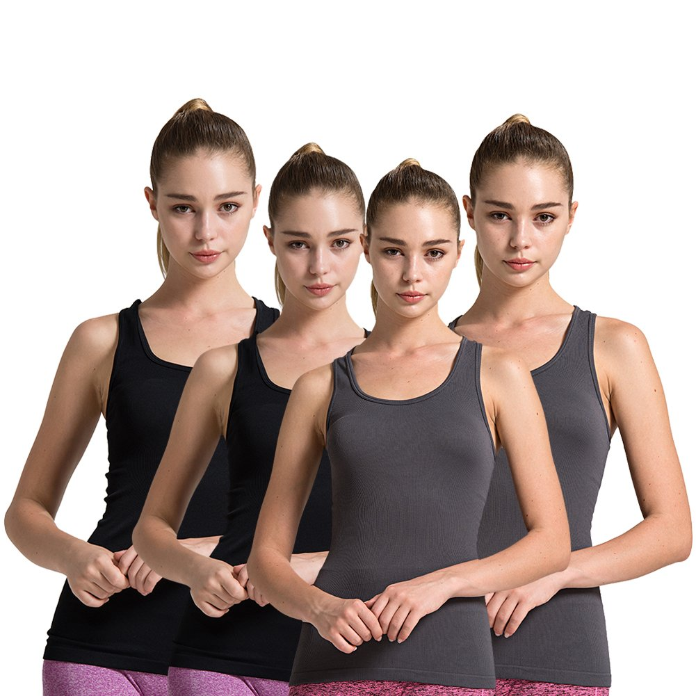 00 4pack Grey Black Semath Tank Top for Women, Running Workout Clothes Athletic Yoga Racerback 16 Pack