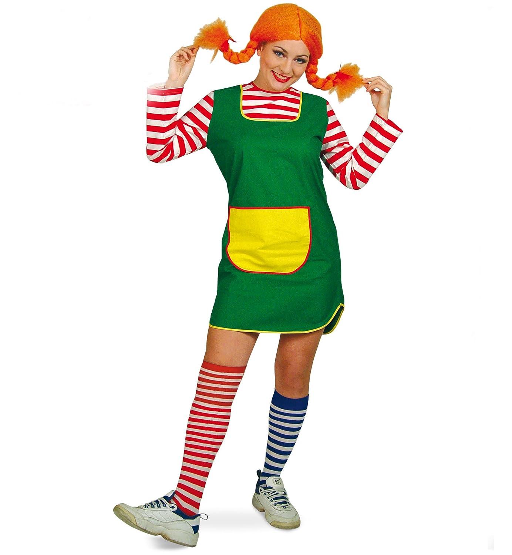 Carnaval Teufel Mujer Vestido karlinchen Corta Verde con Rojo de Color Blanco geringelten Mangas Amarillas Funda göre freches niña: Amazon.es: Juguetes y ...