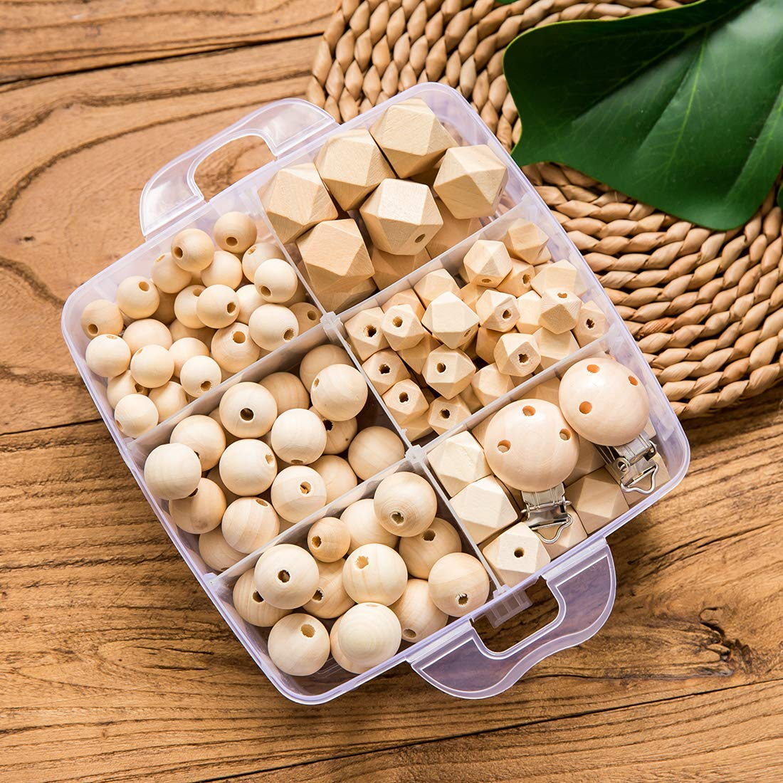 Baby Wooden Teething Safe Maple Mixed Geometric Hexagon Round Beads for Nursing Jewelry DIY Teether Toys Accessories Kit