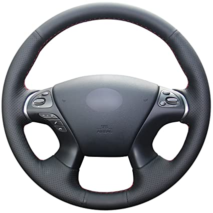 Amazon Hand Sewing Black Genuine Leather Steering Wheel Cover