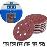 SBS Lot de 60 disques de ponçage à fixation en Nylonpour ponceuse excentrique Ø 125 mm Grain abrasif de 40/60/80/120/180/240 (10 disques par taille de grain)