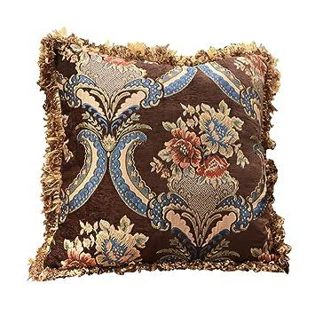 Amazon.com: Cojín cuadrado decorativo, tela jacquard de ...