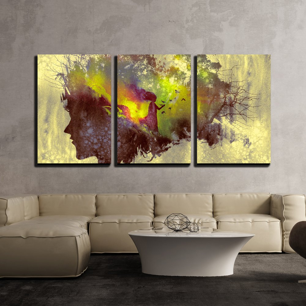 wall26 3 Piece Canvas Wall Art - Painting of Double Exposure Concept with Lady Portrait Silhouette and Woman in Forest - Modern Home Decor Stretched and Framed Ready to Hang - 16''x24''x3 Panels