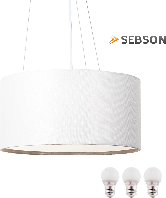 SEBSON® Lampara Colgante techo tela, blanco, incl. 3x E27 bombilla 5W LED, Equivale de 35W, Calido Blanca, 400lm: Amazon.es: Iluminación