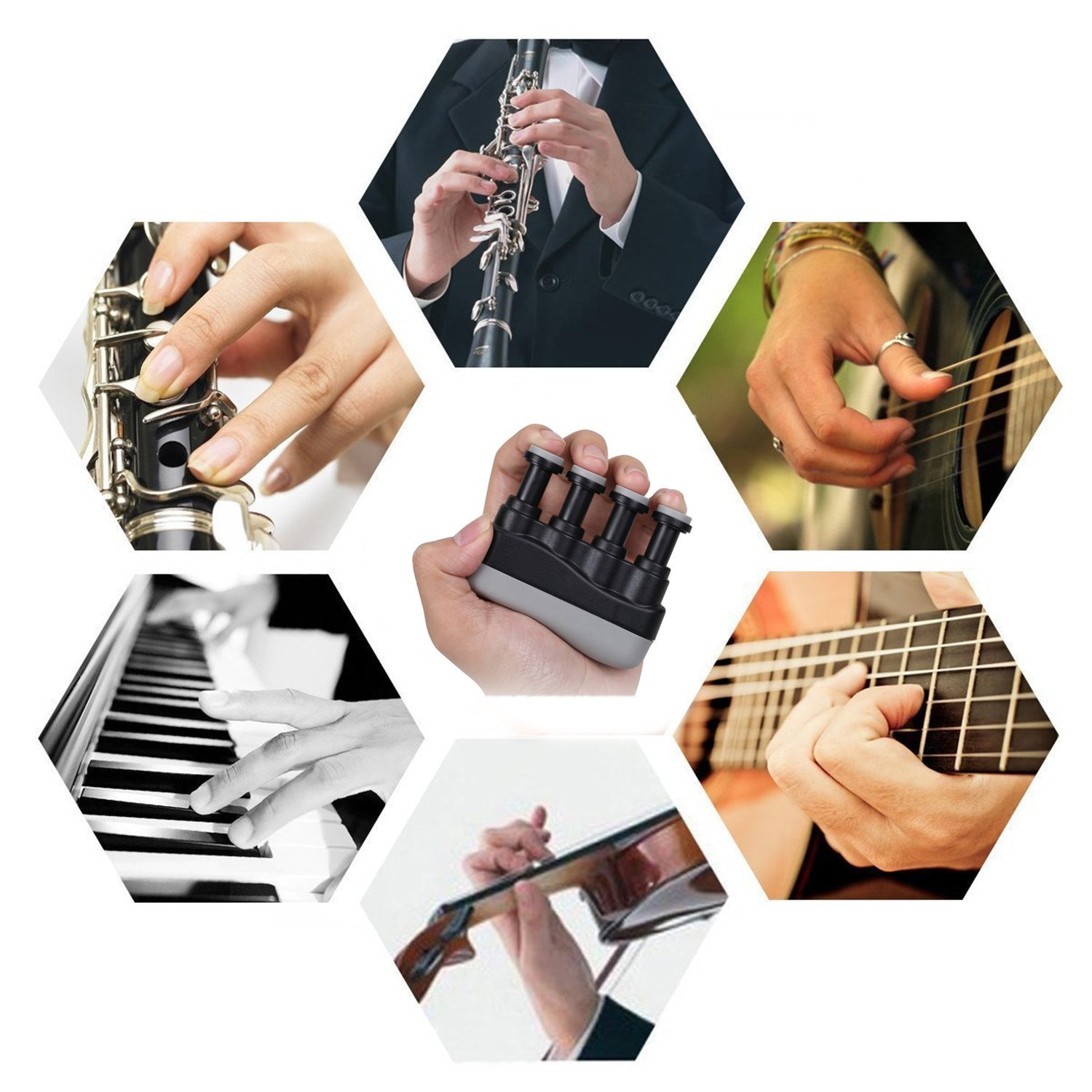 IVYRISE Finger Training Exercise Hand Wrist Strengthener Finger Grip Tension Adjustment Strength Training Equipment for Guitar, Piano, Golf, Tennis & Physical Therapy, Black by IVYRISE (Image #6)