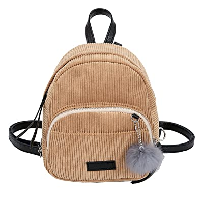 ALIKEEY Girl Hairball Corduroy School Bag Student Backpack Satchel Travel  Shoulder Bag Small Lightweight Bags   e2dc5d1e95