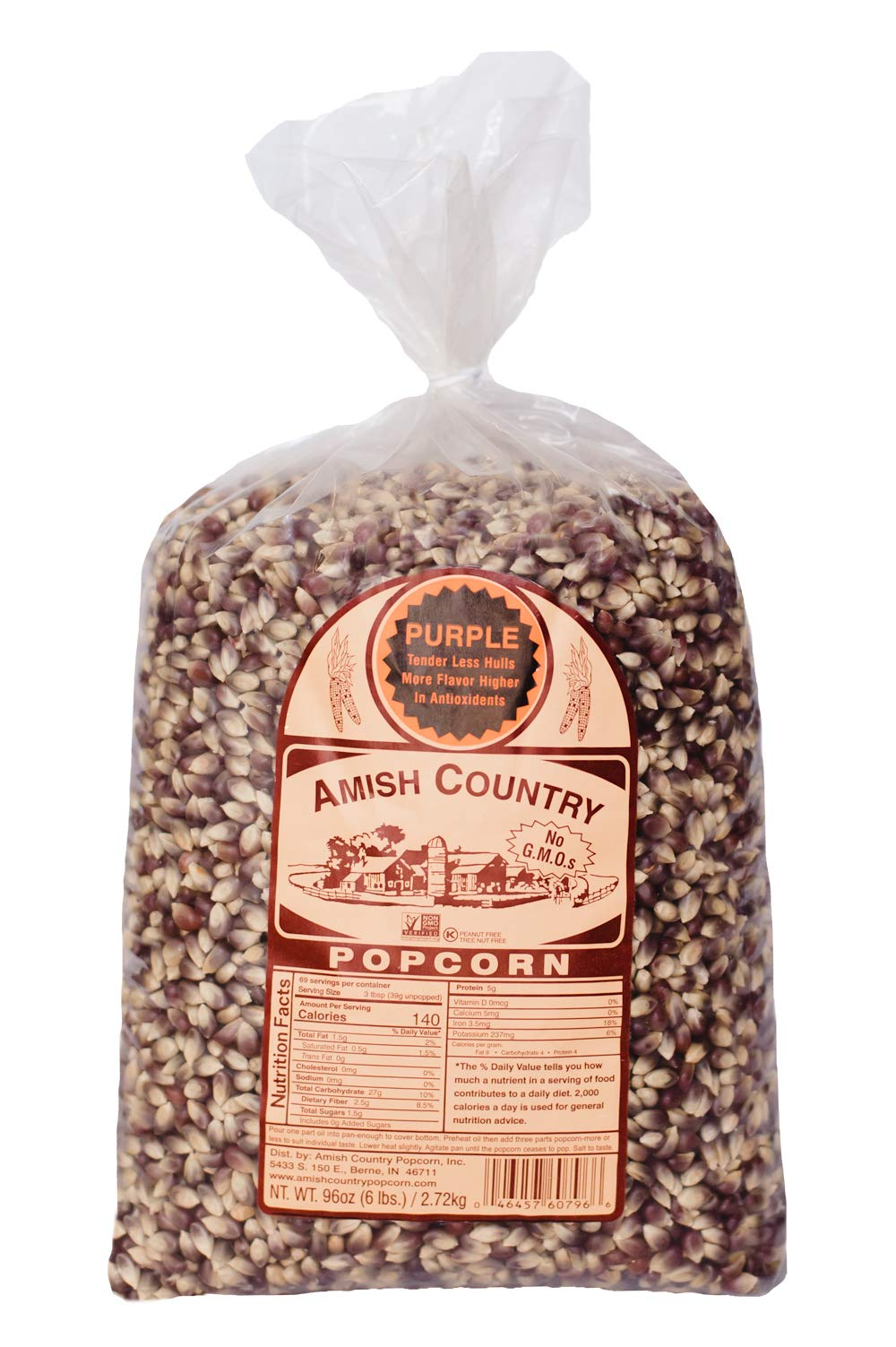 Amish Country Popcorn - Old Fashioned Purple Popcorn - Non GMO, Gluten Free, Microwaveable, Stovetop and Air Popper Friendly - with Recipe Guide (6 Lb) by Amish Country Popcorn
