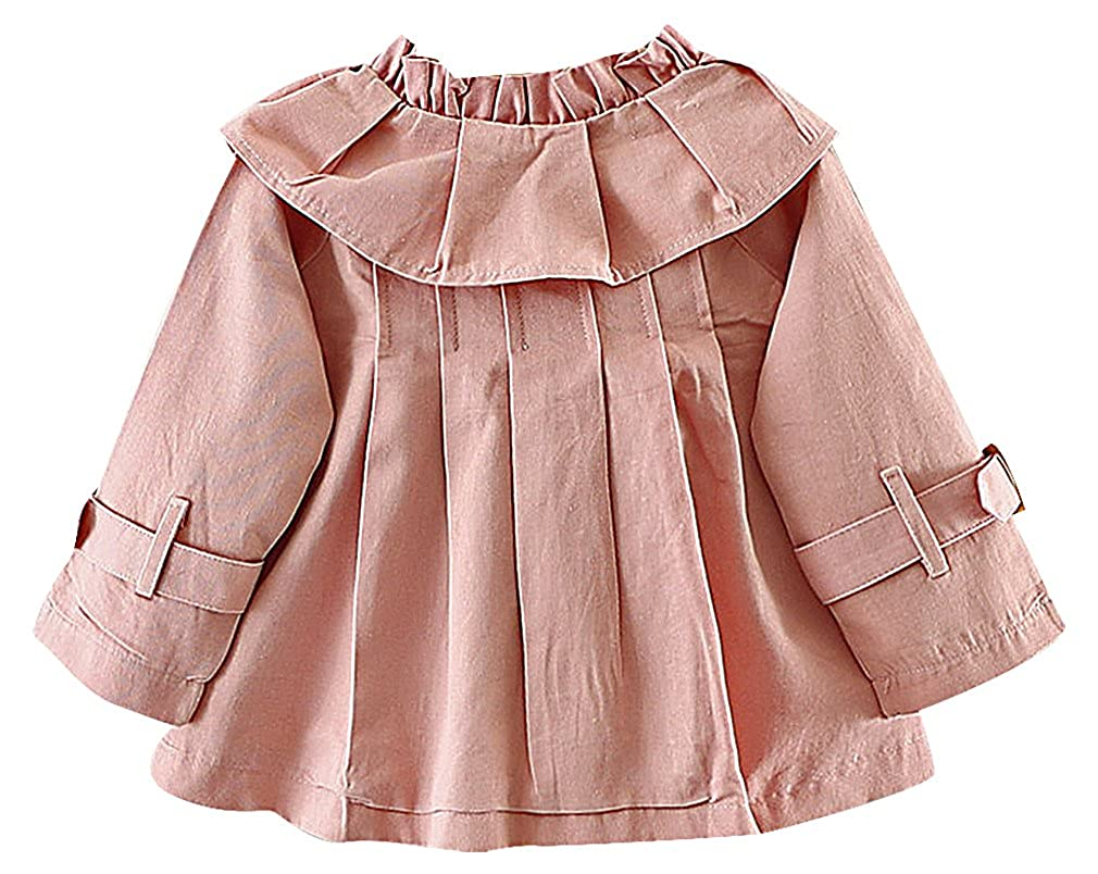 BPrincess Girls Solid Color Bow Tie Ruffle /& Belt Detail Flap Collar Trench Coat