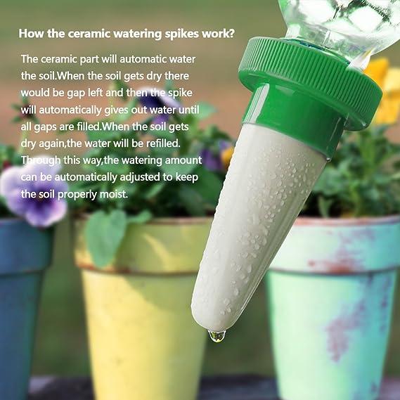 TIMESETL 4pcs Automático Planta de riego por agua dispensador cono cerámica cabeza planta vertedor riego por goteo para jardín, planta de interior, flores: ...