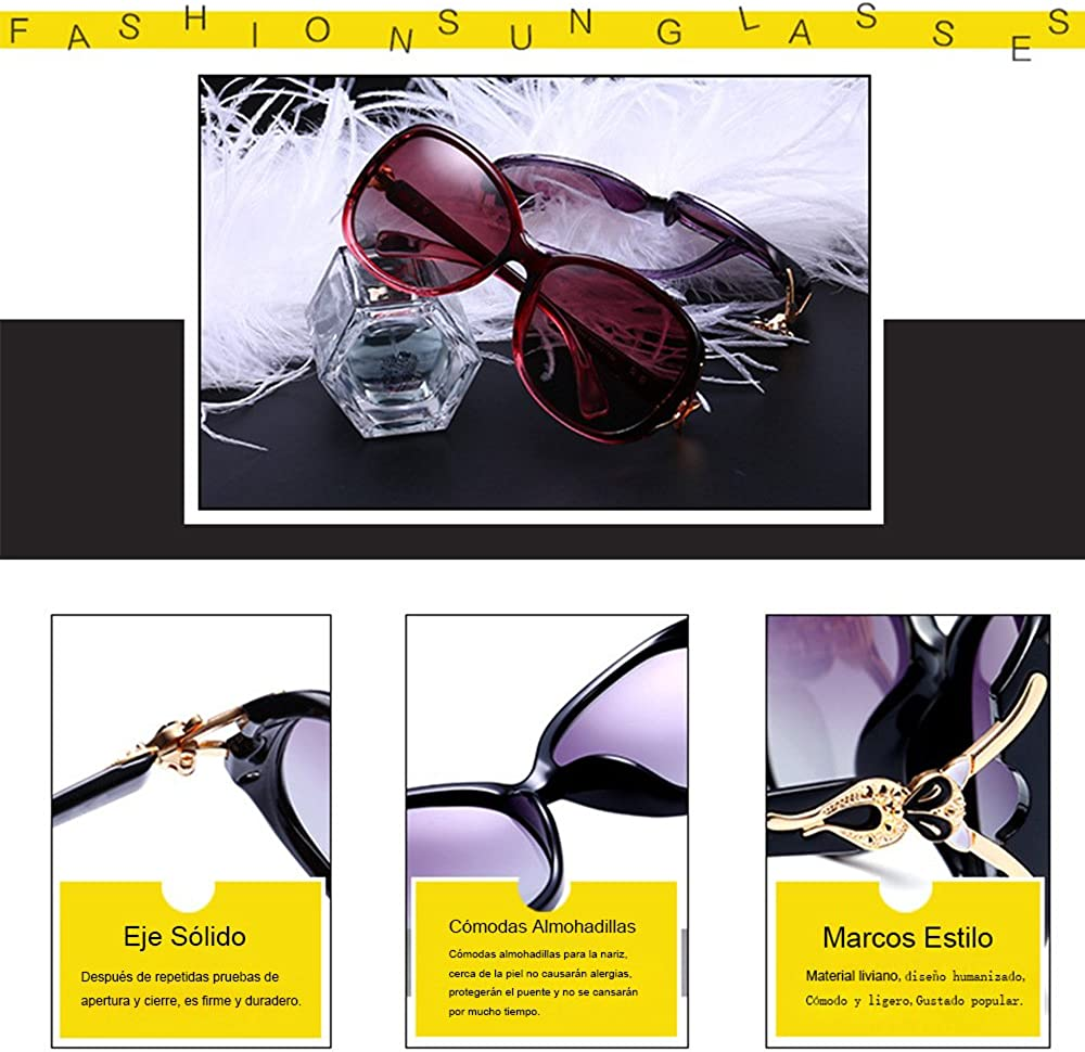 BLDEN Lunettes de Soleil Polaris/ées Femmes /Él/égant Stylish Gradient Lunettes de Soleil Oval UV 400 Protection