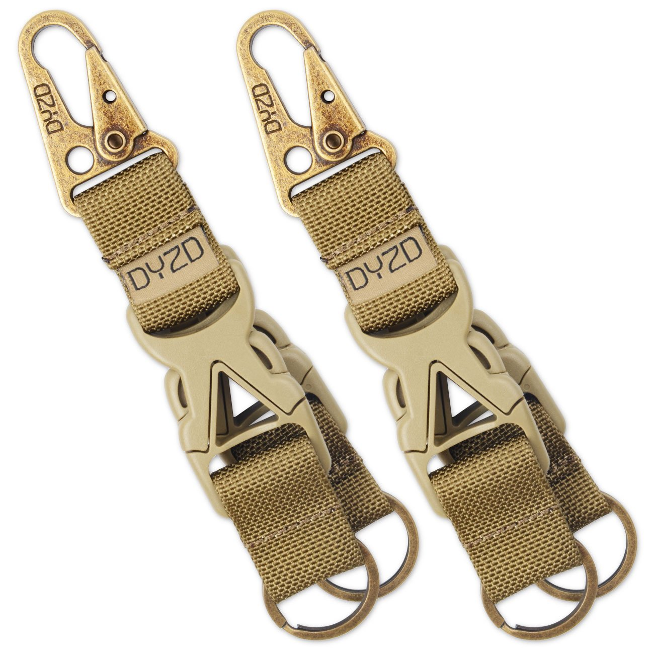 DYZD Tactical Gear Keychain Carabiner Survival 100% Nylon Webbing Key Chain Tactical Key Holder Quick Release Buckle with Key Ring