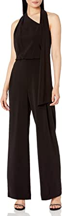 HALSTON Women's Scarf Neck Jumpsuit