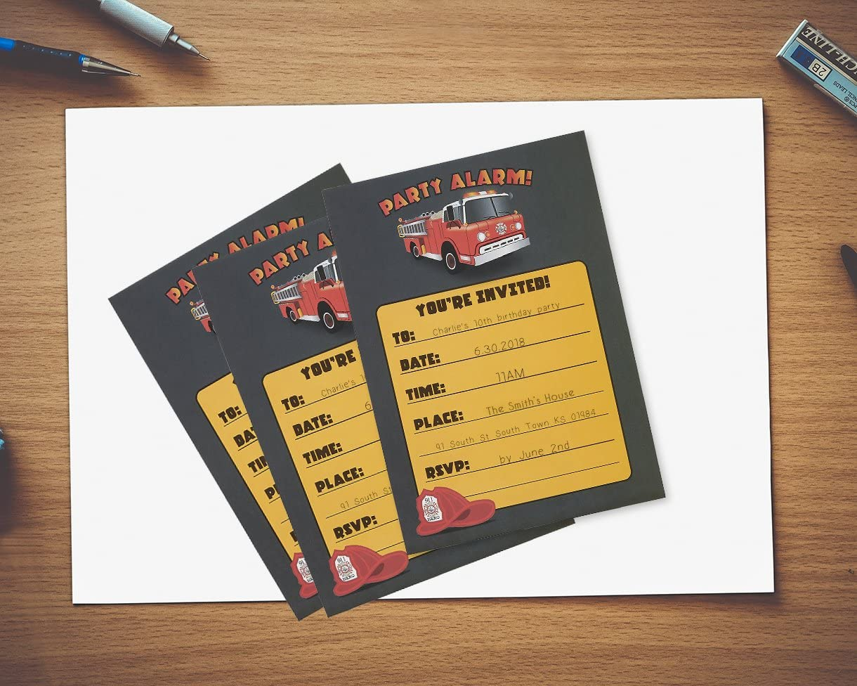 Postcard Style 24 Fill-in Invites with Envelopes for Kids Birthday Bash and Theme Party Fire Truck Invitation Cards 5 x 7 Inches