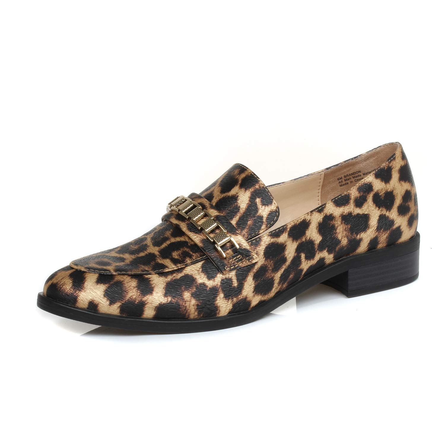 Brandon Light Leopard DUNION Women's Brandon Chain Decorated Penny Loafers Low Heels Almond Toe Casual Daily shoes