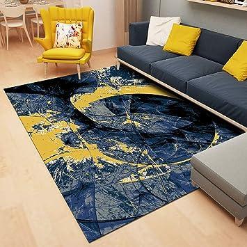 DAMENGXIANG Abstrait Bleu Jaune Moderne pour Tapis Chambre À ...