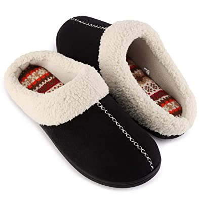 c7b8c401ba5d ULTRAIDEAS Women s Comfort Memory Foam Slippers with Warm Fleece Lining and  Wool-Like Collar