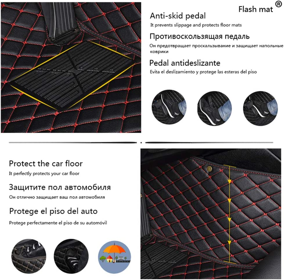 Car Floor Mat for Jeep Compass 2007-2016 All Full Coverage Liner All Weather Waterpoof Non-Slip Leather Heavy Duty Custom Front Rear Mat Left Drive Red
