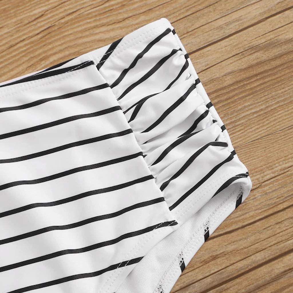 Women Round Neck Swimsuit Two Pieces Strip Print Front Knot Bathing Suit High Waist Bottom Crop Top Swimwear