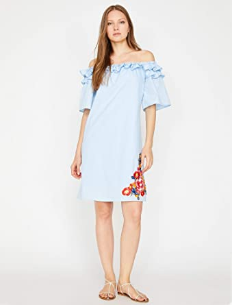 970cb731a8eec Koton A Line Dress for Women - Light Blue: Amazon.ae