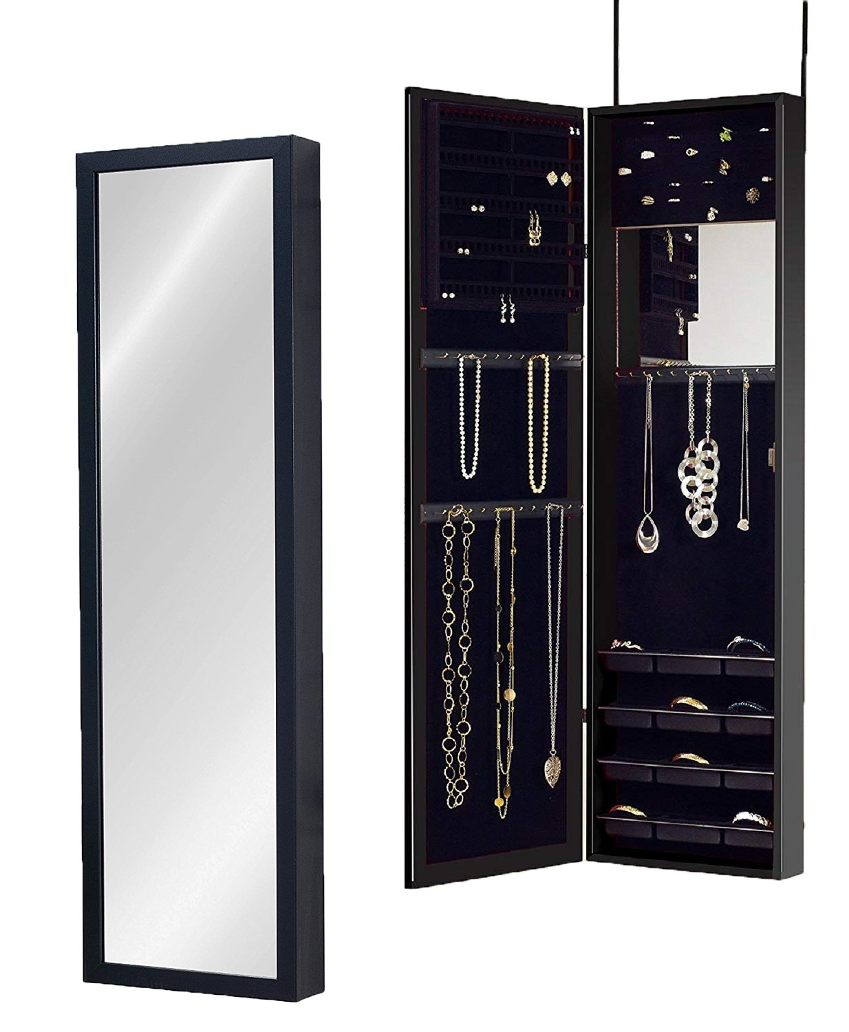 Plaza Astoria PA66BK Wall Mounted Over the Door Super Sized Jewelry Armoire Storage Cabinet, Black Mirrotek