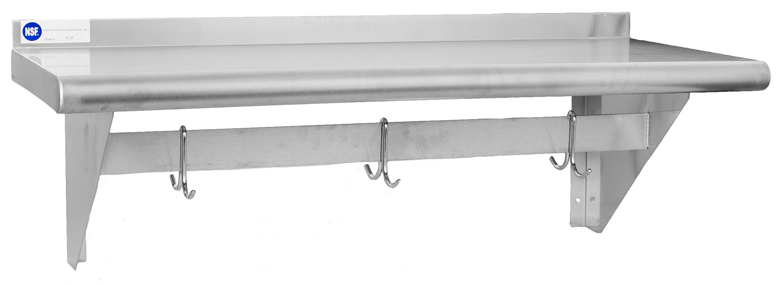 Gusto - 14'' x 36'' Stainless Pot Rack Shelf w/ 3 Hooks