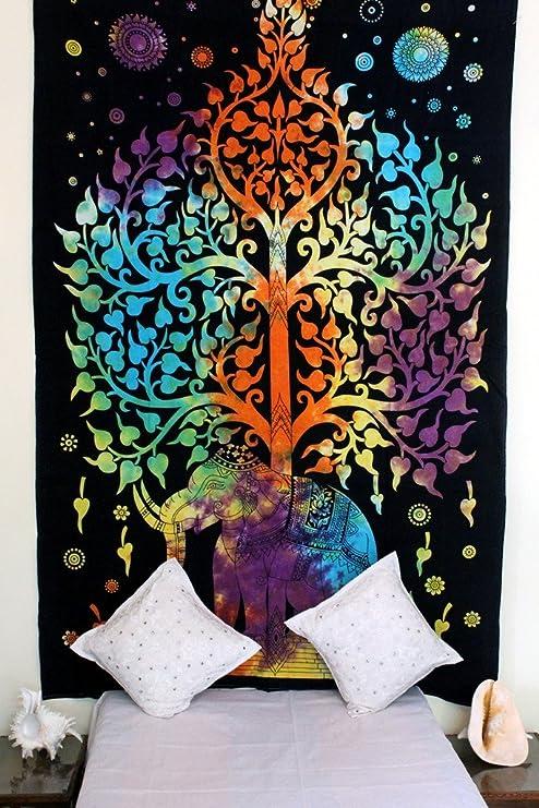 Stylo Culture Indian Hippie Tapiz Multicolor Indio Impreso Tela de Pared de Algodón Doble Elefante Árbol Mandala Tapiz Bohemio Mandala: Amazon.es: Hogar