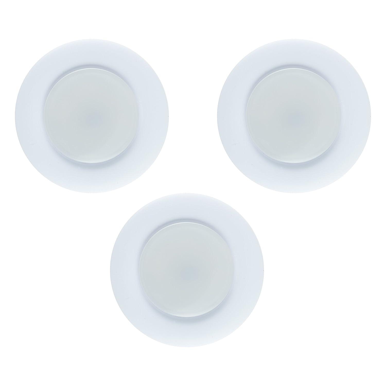 GE 31393 Enbrighten Puck Light, 3pk, Plug-in, Linkable, White