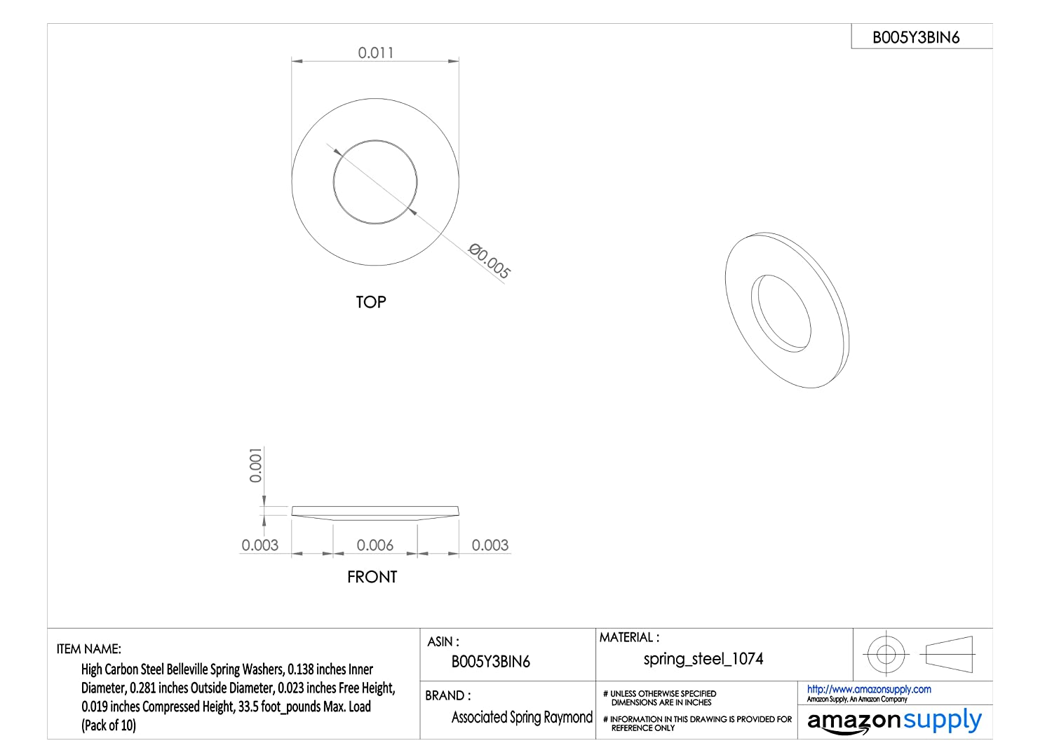 Load 0.027 inches Compressed Height Pack of 10 55 foot/_pounds Max 0.437 inches Outside Diameter 0.138 inches Inner Diameter 0.032 inches Free Height High Carbon Steel Belleville Spring Washers Associated Spring Raymond B0437022