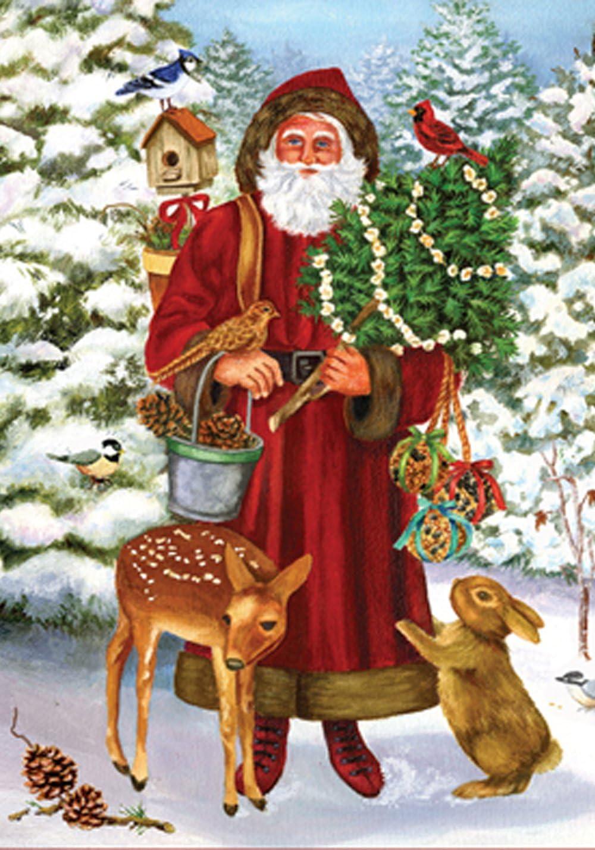 Toland Home Garden Woodland Santa 12.5 x 18 Inch Decorative Winter Snow Forest Animal Deer Rabbit Garden Flag