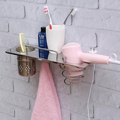 Amazoncom TAPCET Stainless Steel Chrome Bathroom Organizer Wall - Bathroom cup holders wall mount for bathroom decor ideas