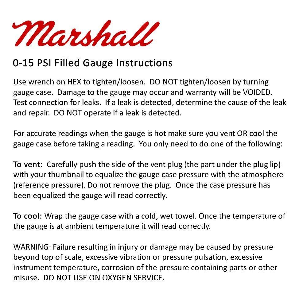 Marshall Instruments LBB00015 Liquid Filled Fuel Pressure Gauge Black