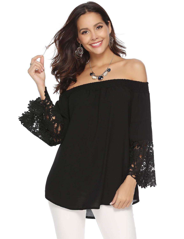 Abollria Camiseta Casual para Mujer con Hombros Descubiertos Camisa con Escote Bardot T-Shirt Larga sin Hombros para Primavera Verano