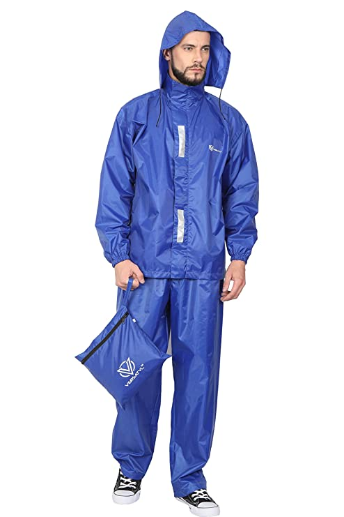 4bbc4fbc523f VERSATYL Unisex 100% Waterproof Rain Coat with Pant (Royal Blue ...