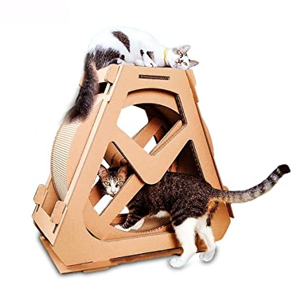 Kaxima 3 Platform Cat Tree Scratching Post Activity Centre Ferris Wheel Cat Scratching Board corrugated cat