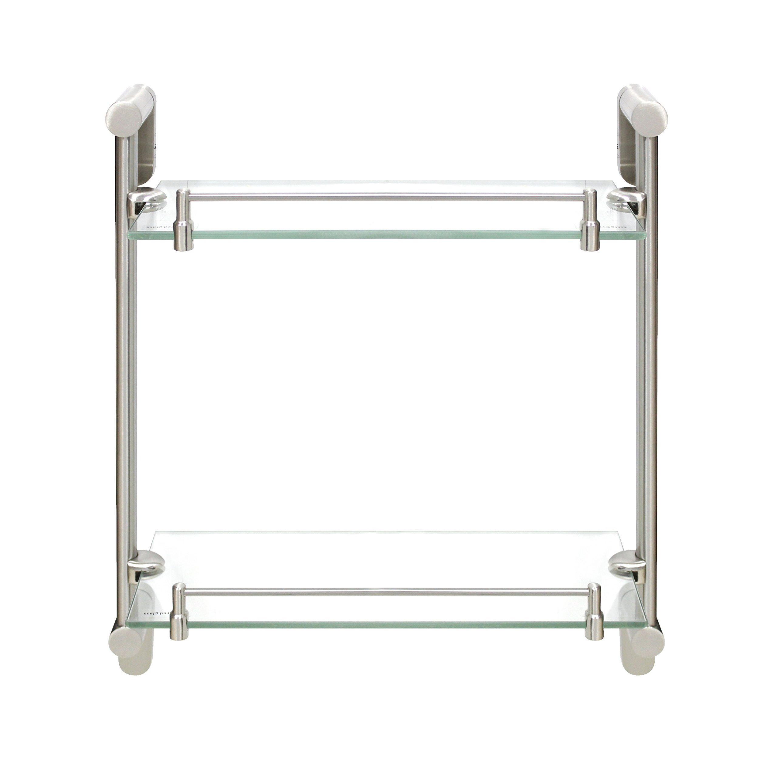 MODONA Double Glass Shelf with Rail – Satin Nickel – Oval Series - 5 Year Warrantee by MODONA