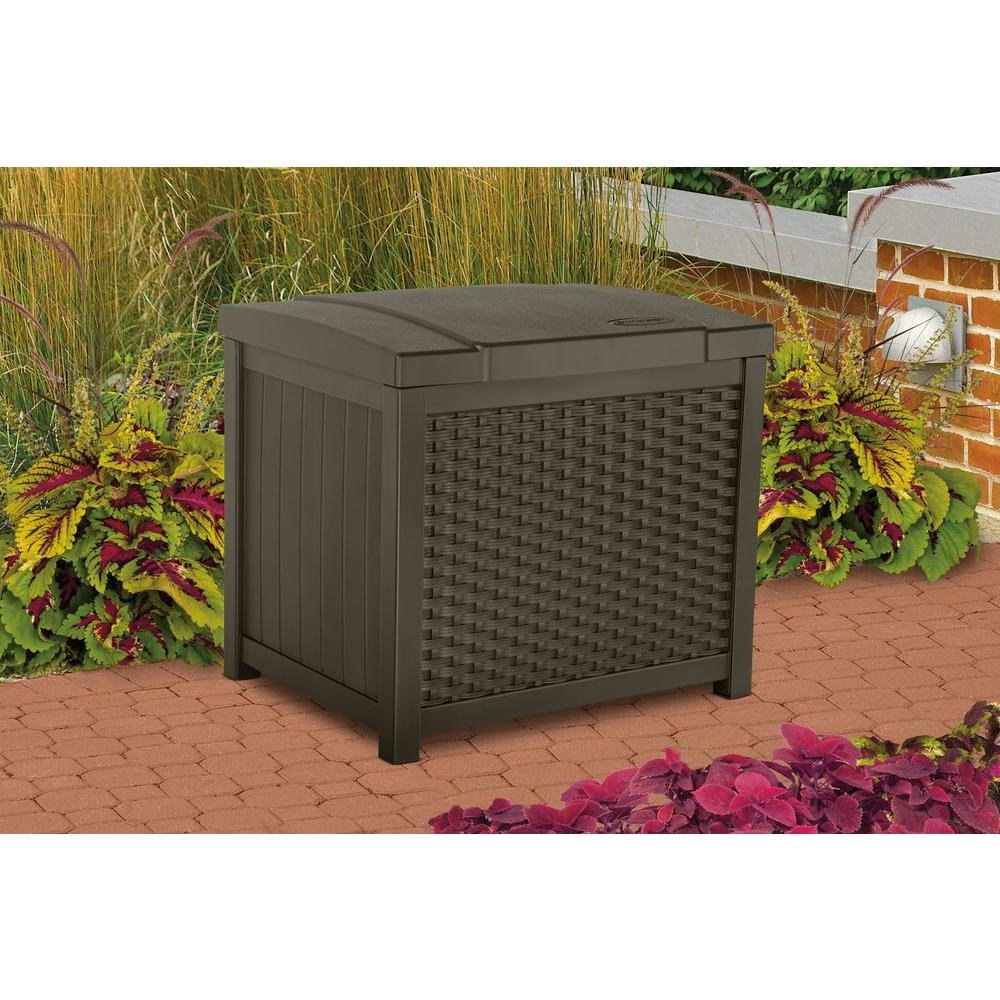 Amazon.com : Suncast SSW900 Wicker Deck Box, 22 Gallon with Ottoman/Side Table Cover - Durable and Water Resistant Patio Furniture Cover : Garden & Outdoor