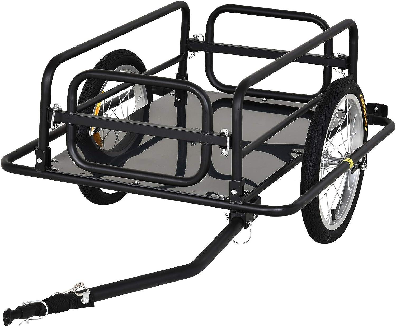 PawHut Remolque de Bicicleta para Carga 50kg Carga de Equipaje Marco de Acero Ligero con Reflectores